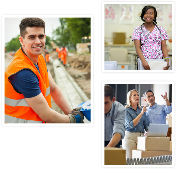 photos of road worker, nurse and business man and woman